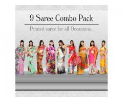 Nine Stylish Designer Sarees Combo Collection call Us At 09212600900