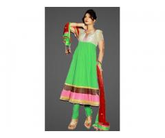 Purchase Green Chikankari Anarkali Desinger Dress Online