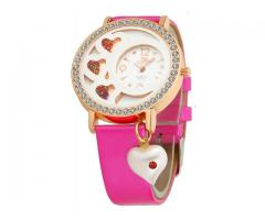 Rose Gold White Heart Dial Watch for Girls