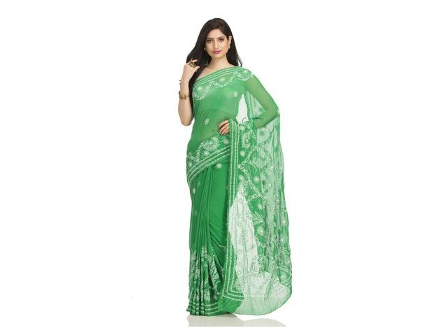 Buy Green Color Sarees For Navratri