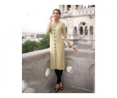 Buy Cream Color Cotton Kurti at Shoppyzip