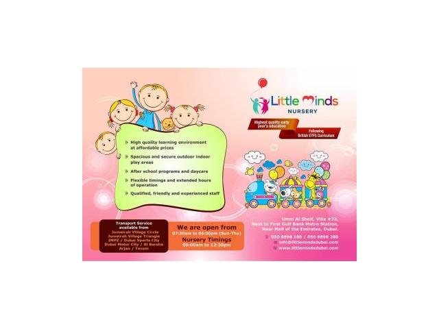 LITTLE MINDS NURSERY - Nursery near JVC Jumeirah Village Circle  050 8898 180