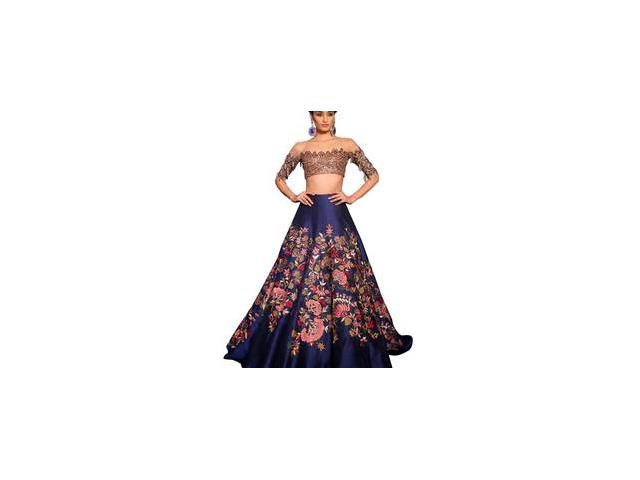 Mirraw Offers Stylish and Designer Blue Lehengas in cheap rate