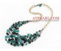 Green and Black Series Crystal and Black Agate and Seashell Necklace is sold at US$ 6.89