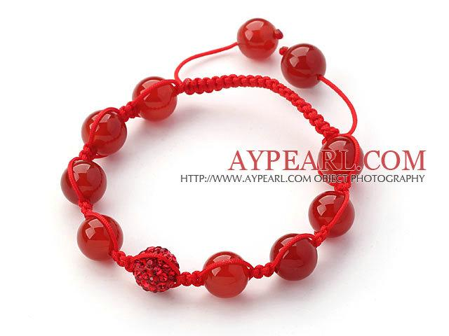 Red Series Round Carnelian and Rhinestone Beads Bracelet is sold at US$ 2.43