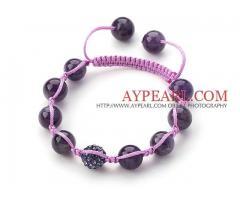 Dark Purple Series Round Amethyst and Rhinestone Beads Bracelet is sold at US$ 2.43