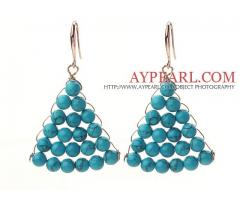 Fashion Style Fan Shape 6mm Blue Turquoise Earrings is sold at US$ 2.75