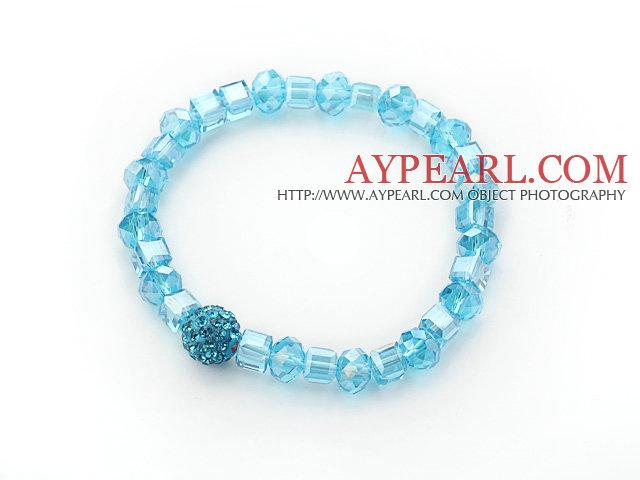 Lake Blue Crystal Stretch Bangle Bracelet with Blue Rhinestone Ball is sold at US$ 1.58