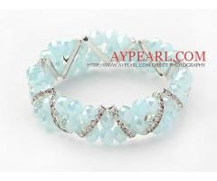 Two Rows Sky Blue Jade Crystal Stretch Bangle Bracelet with Rhinestoneis sold at US$ 3.45