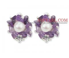 White Freshwater Pearl and Amethyst Chips Earrings is sold at US$ 2.89