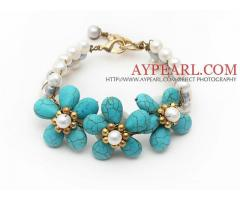 Elegant Style White Freshwater Pearl and Turquoise Flower Bracelet is sold at US$ 6.07
