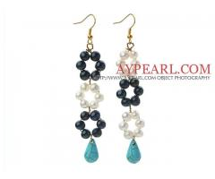 Black and White Freshwater Pearl and Teardrop Turquoise Earrings is sold at US$ 3.49